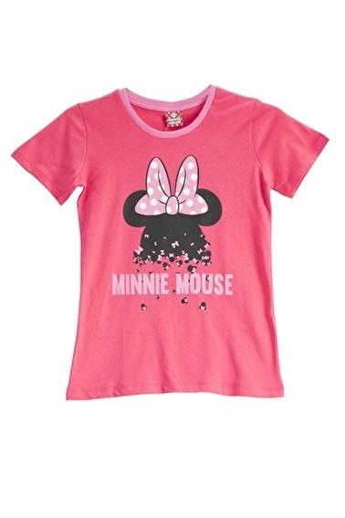 Mickey Mouse Mickey & Minnie Mouse Lisanslı Fuşya Kız Çocuk T-Shirt Pembe